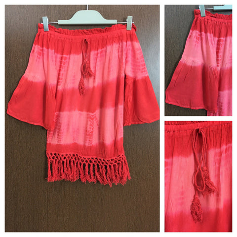 2 Colors - Tasseled - Pink and Red Off shoulder Top