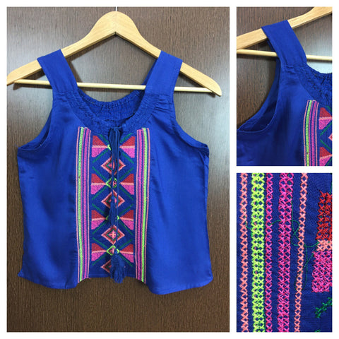 Colorful Thread Work Casual Sleeveless Top - Royal Blue