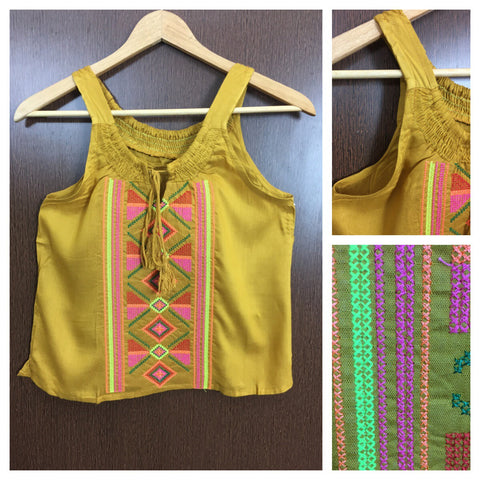 Colorful Thread Work Casual Sleeveless Top - Mustard Yellow