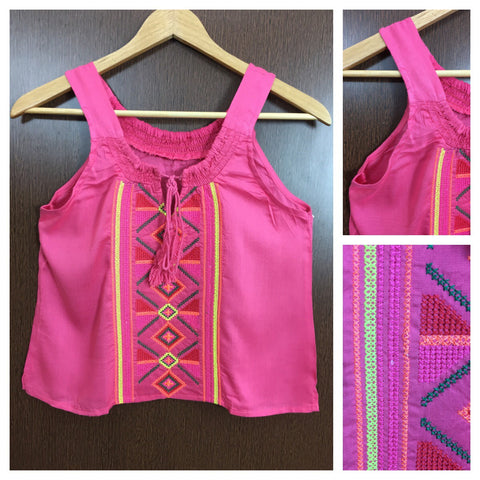 Colorful Thread Work Casual Sleeveless Top - Pretty Pink