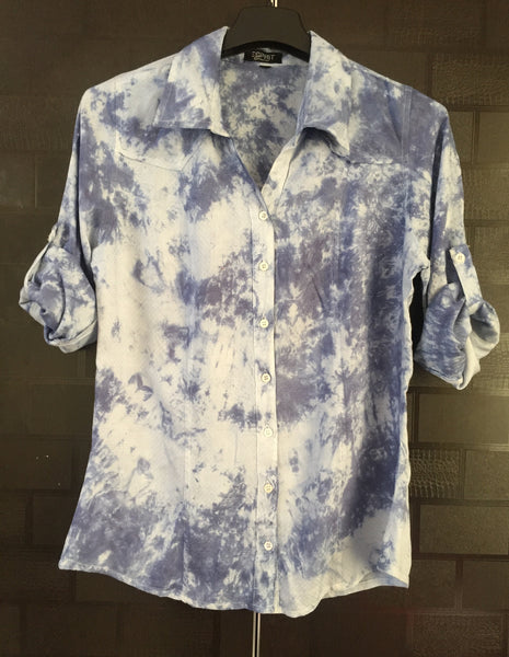 Soft Feel - Shaded Blue Cotton Shirt with self design