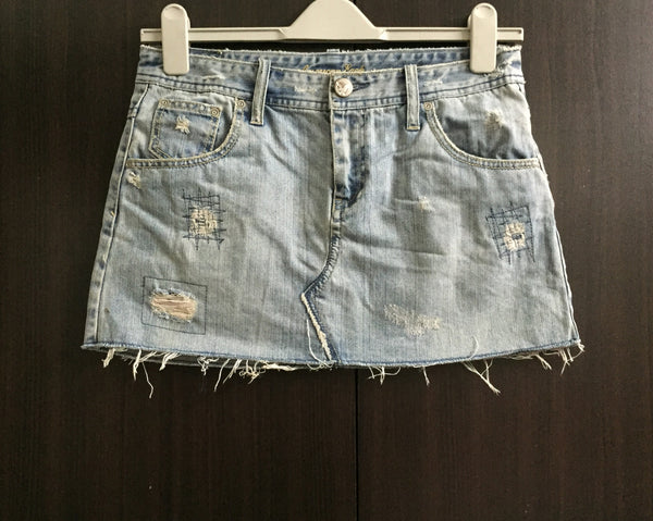 Washed Out Blue Denim Skirt