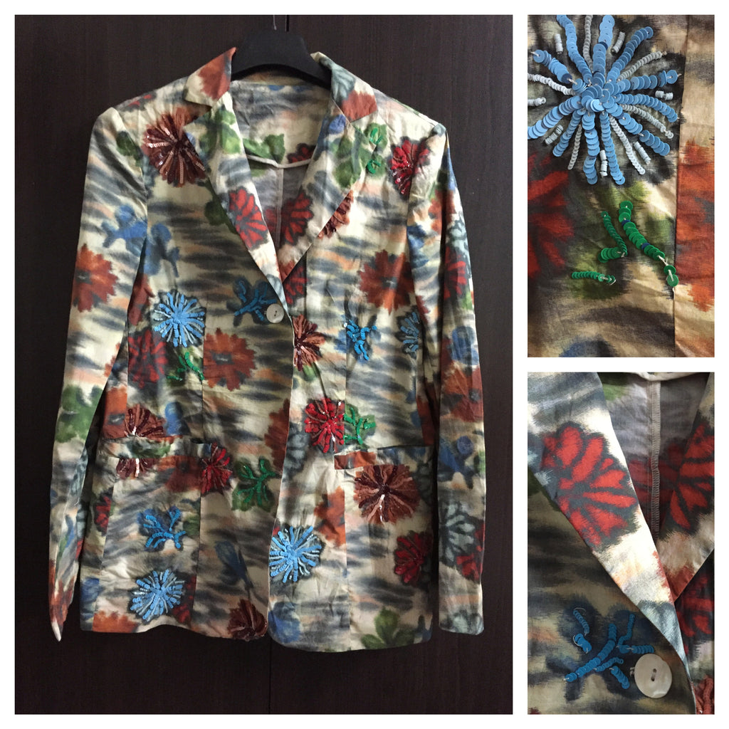 Stylish Light Colorful Floral Jacket with sequins