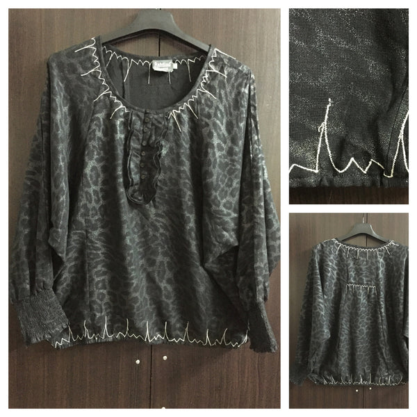 Shimmer, Black and Silver Animal Print Top