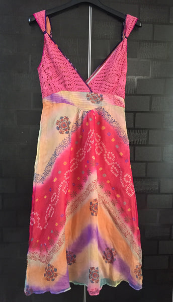 Vibrant Colorful Dress with Pink Croatia on Bust