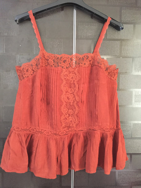 Brown Spaghetti Top with Lace