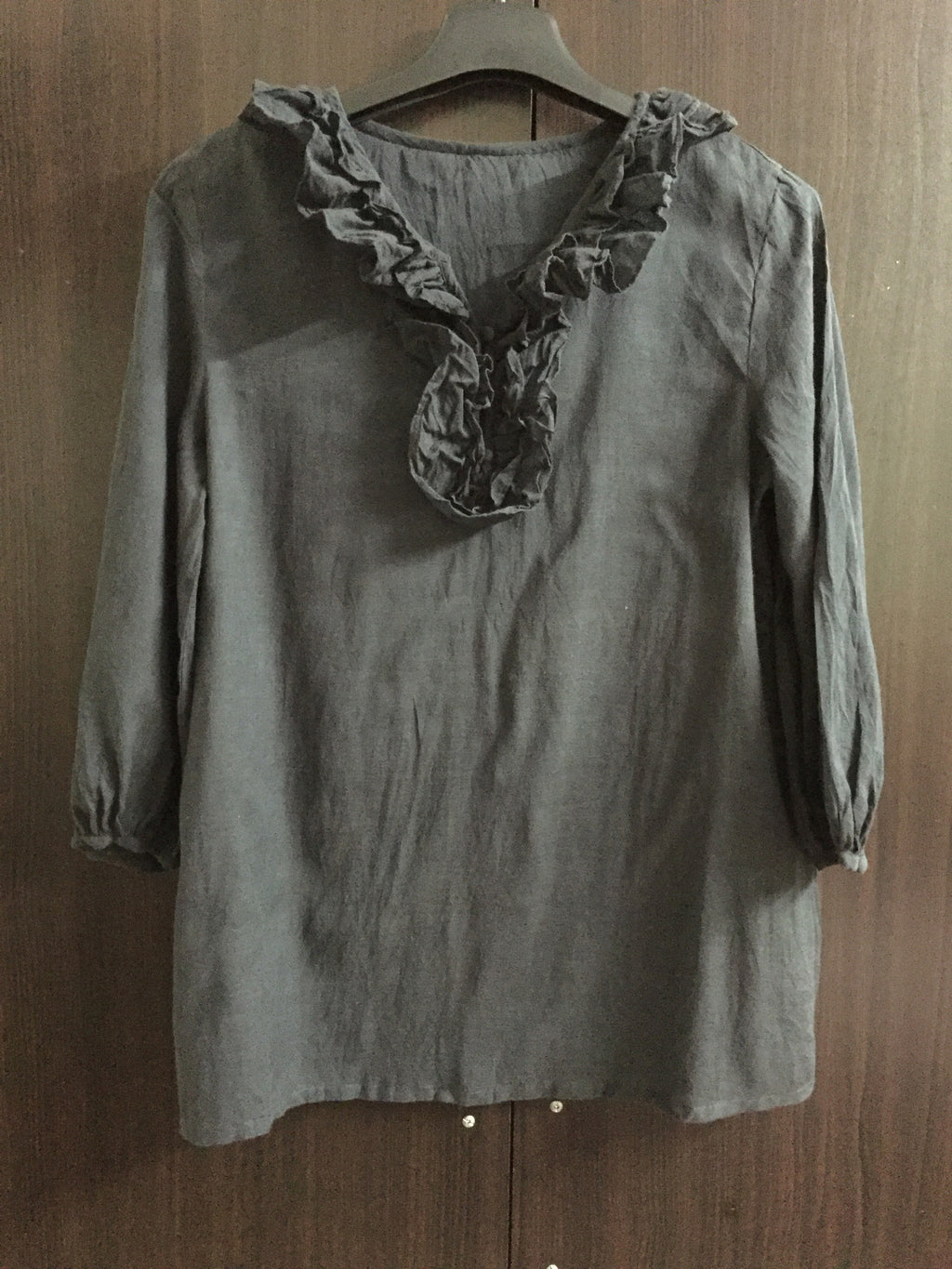 Darkest Grey Ruffled neck, Long sleeves Top