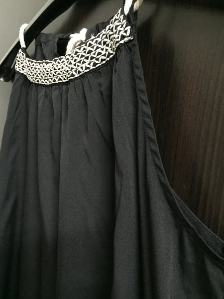 Elegant Black Dress with thread work on neck