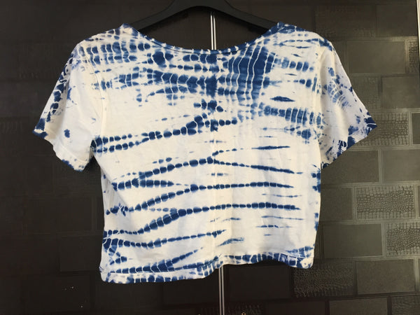 Blue and White Crop Tee