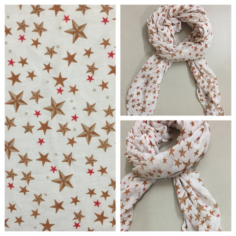 Square Brown and Red Stars on Cream Scarf