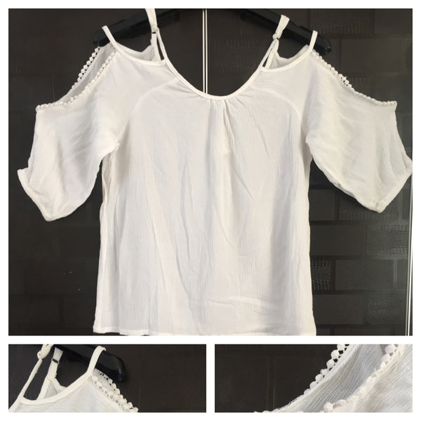 Cold Shoulder - White Top with lace detail on arms