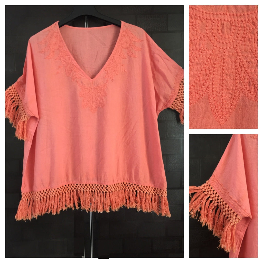 Light Threadwork and Tassels Orange Comfy Fit Top
