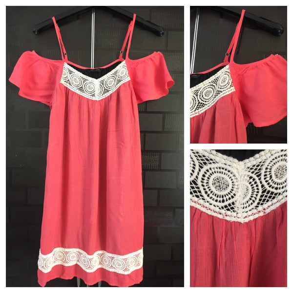 Pretty Pink Cold Shoulder Dress with White lace work
