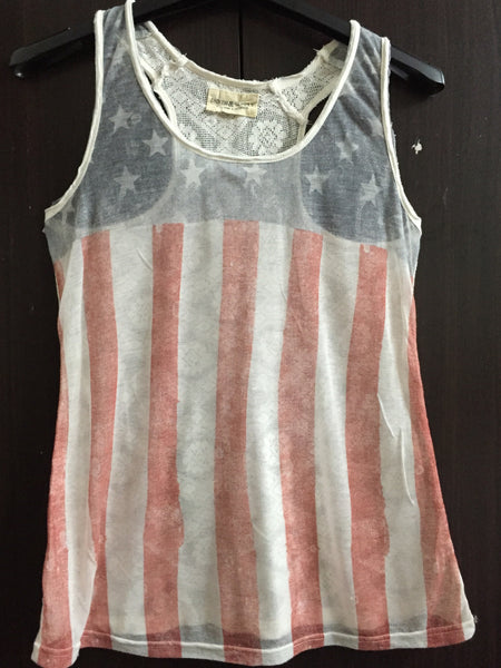 Flagged, light front and net back Sleeveless Top