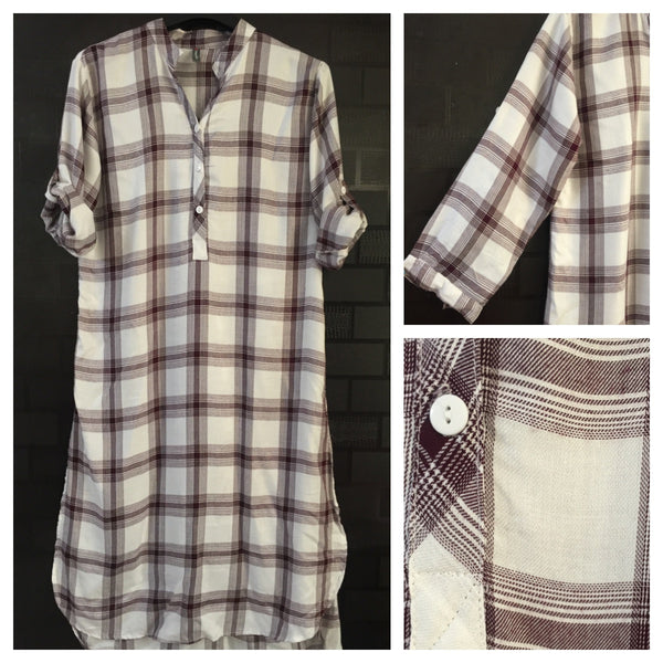 Shirtdress - Checks - Brown and White Shirtdress
