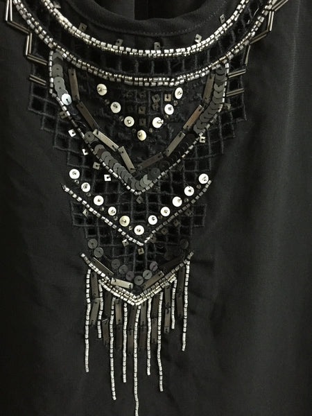 Stylish Black Racer Back Top with Sequins and cut-work