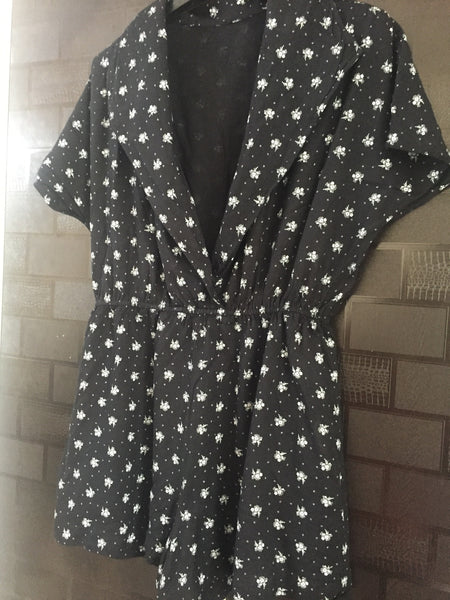 The bunch of Flowers on Black Jacket Style Jumpsuit