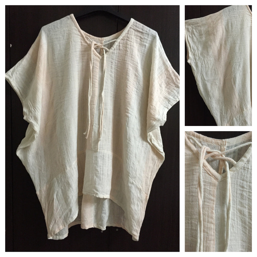 Poncho Style, Cream-Orange Top
