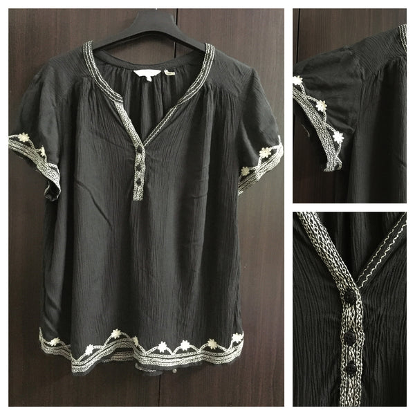 Dull Black Cotton Top with white thread work