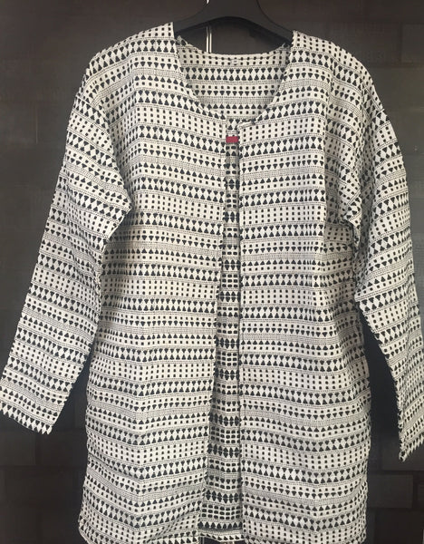 Little Warm - Front Open, White Jacket with Black thread work