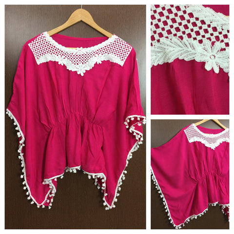 Front Square Lace and White Pom Pom - Poncho Top - Magenta Pink