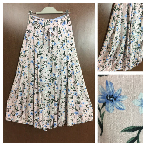 Long Skirt - Pretty Pink, Blue, White Flowers on Pink