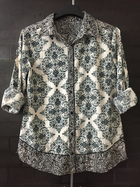 Green and Black Printed, Casual Cream Shirt