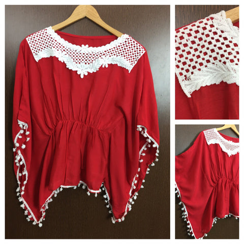 Front Square Lace and White Pom Pom - Poncho Top - Red