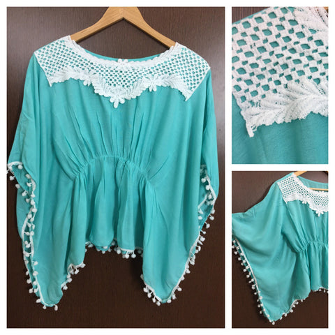 Front Square Lace and White Pom Pom - Poncho Top - Light Blue