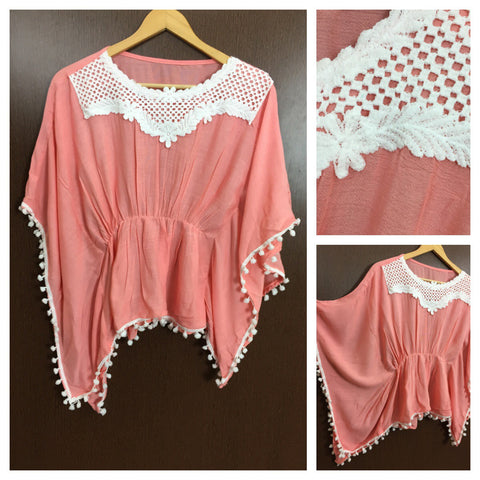 Front Square Lace and White Pom Pom - Poncho Top  - Pink