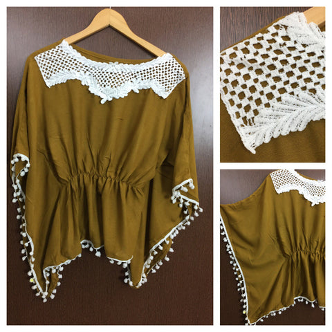 Front Square Lace and White Pom Pom - Poncho Top - Mehndi Green