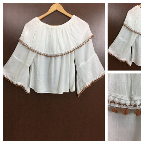 White Lace - Brown Pom Poms - On - Off Shoulder Top - White