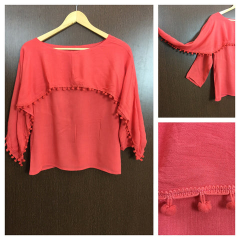 Pom - Pomed - Cape on Arms - Stylish Top - Pink