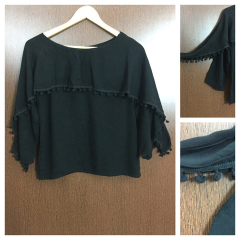 Pom - Pomed - Cape on Arms - Stylish Top - Black