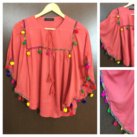 Colorful Pom Pom - Butterfly Top - Dark Pink