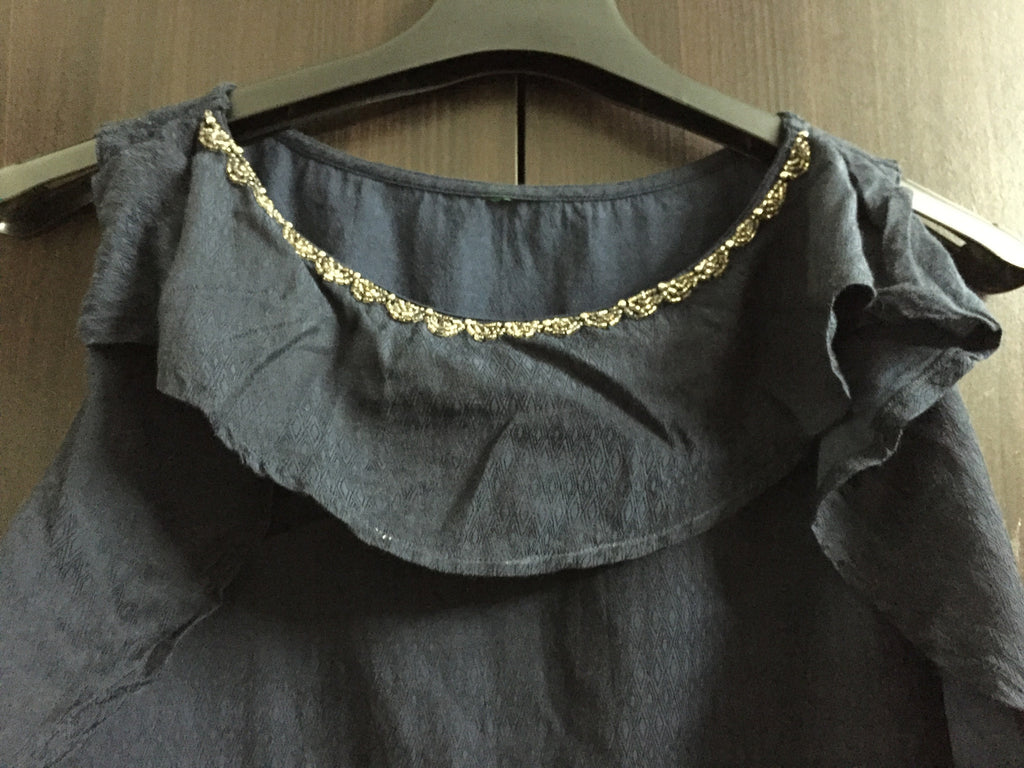Navy Blue  Self Design top with ruffles & Sequins