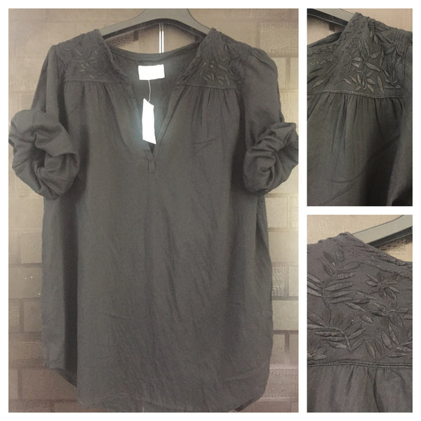 Casual Black Top with Thread work around shoulders