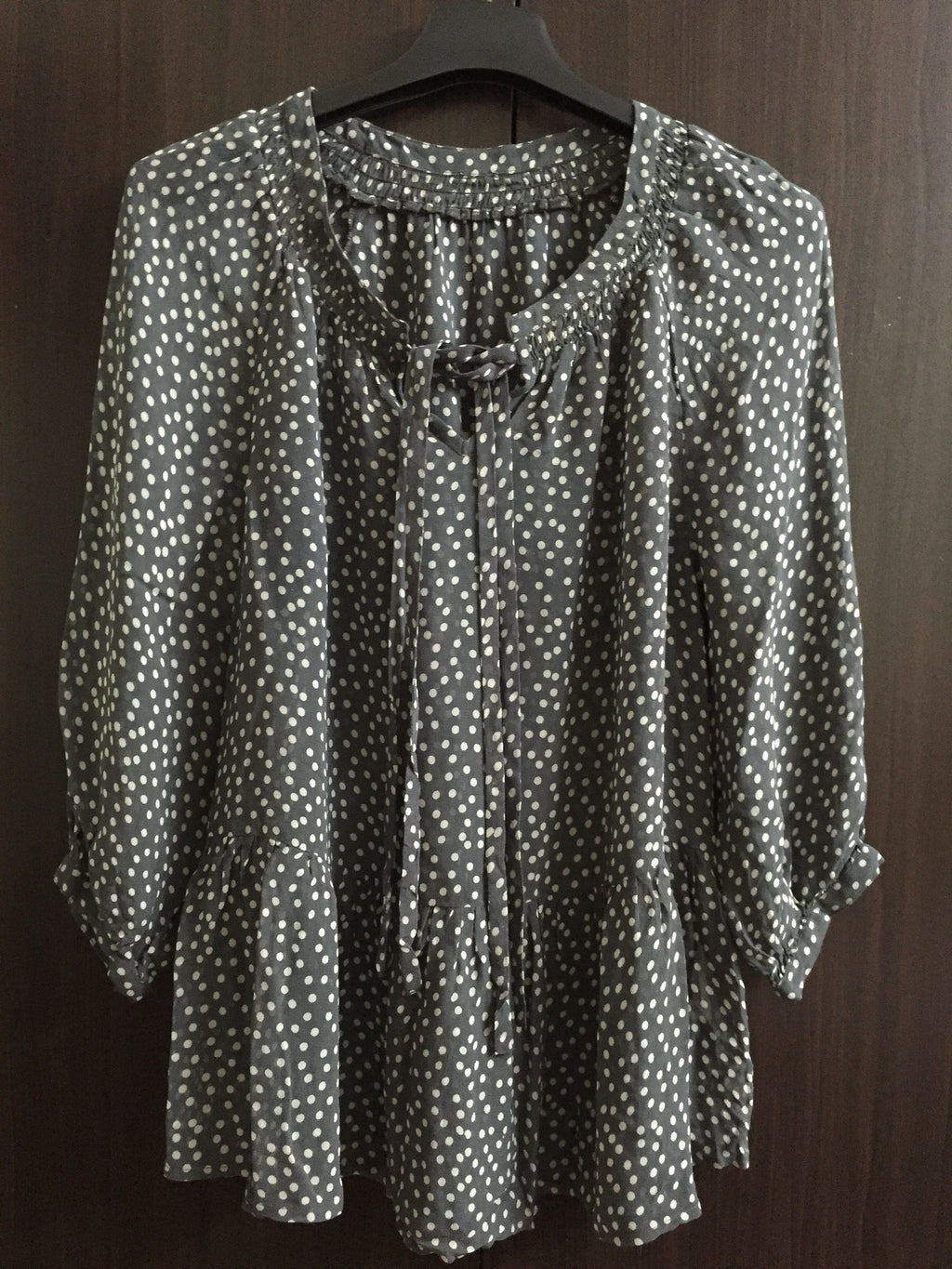 Grey and White Spotted Polka Dots Top