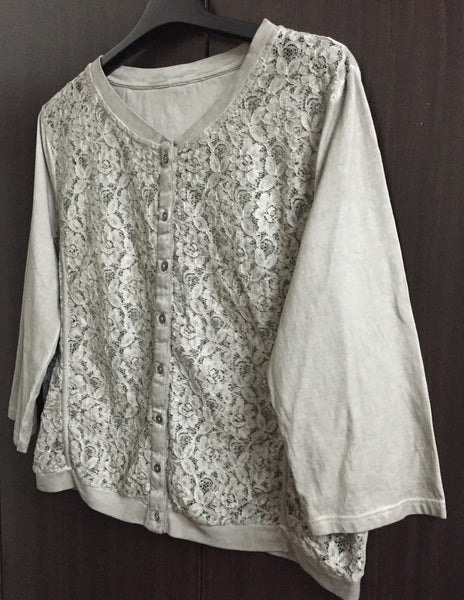 Light Short Cotton Jacket/Top with Net on front
