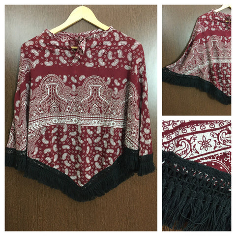 Black Tasseled - Cream Prints on Maroon Poncho Top