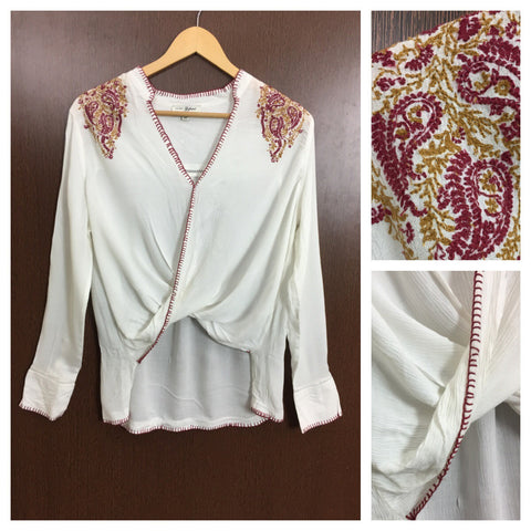 Stylish Front Flapped - White Top with Maroon, Mustard Thread Work