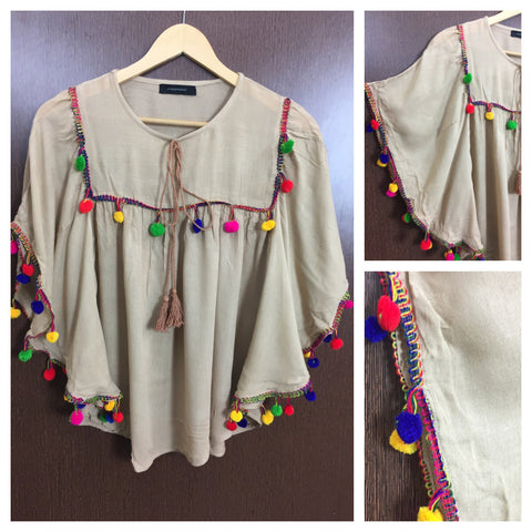 Colorful Pom Pom - Butterfly Top - Light Brown