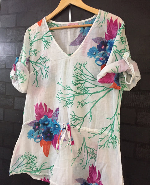 Blue Flowers - Green Branches Casual Light Top