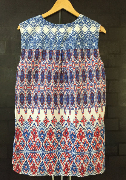 Blue and Red Printed Sleeveless Top