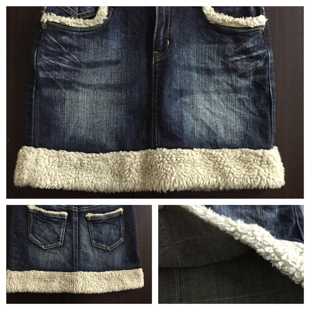 Blue Washed Out Denim Skirt with cream wool on borders - #FTFY - For The Fun Years