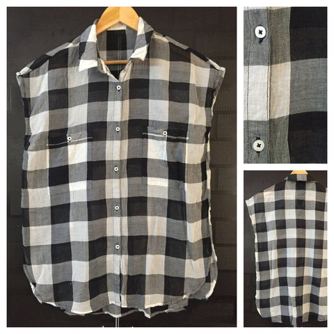 Checks Big - Black White and Grey Casual Light Sleeveless Shirt