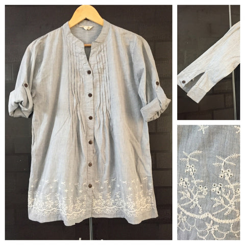 Elegant Grey Light Top with White thread work at the bottom
