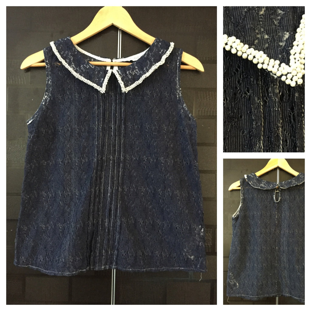 Navy Blue Netted - Sleeveless Top with Sequin on collars