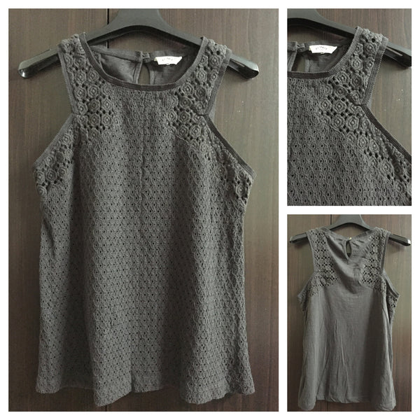 Front Net and Back Cotton Grey Sleeveless Top