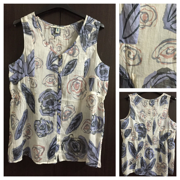 Soft Cotton Sleeveless Top with Blue, Pink, Grey Flowers